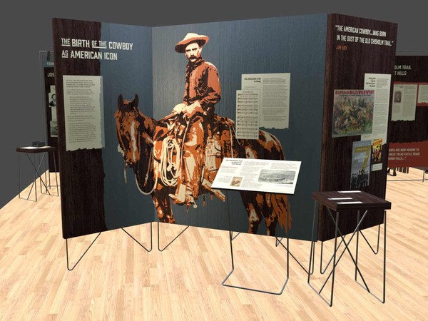 white title text; large stenciled image of cowboy on horse in orange and white; blue wash background on dark wood panels; mocked up in 3D model