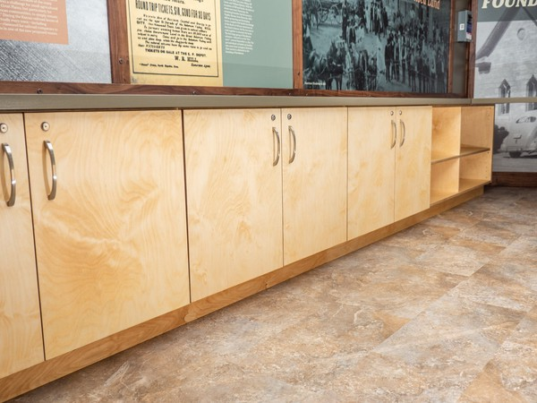 row of handsome light wood tone cabinets